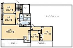 サーパス鶴島[13号室]の間取り
