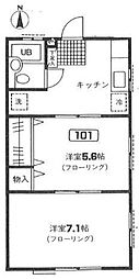 クオーレ戸塚[1階]の間取り