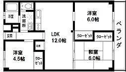 福岡県福岡市早良区百道2丁目の賃貸マンションの間取り