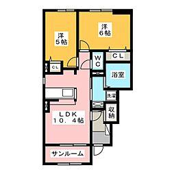岐阜県瑞穂市只越の賃貸アパートの間取り