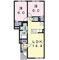 北海道札幌市北区百合が原9丁目の賃貸アパートの間取り