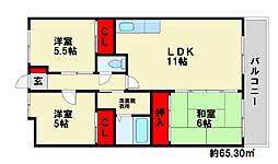福岡県春日市下白水北4丁目の賃貸マンションの間取り