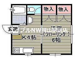 岡山県岡山市中区小橋町2丁目の賃貸アパートの間取り