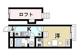 近鉄京都線 山田川駅 徒歩12分の賃貸アパート 2階1Kの間取り