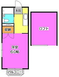 東京都東村山市萩山町3丁目の賃貸アパートの間取り