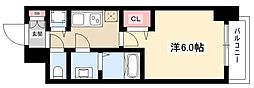 プレサンス名古屋幅下ファビュラス 12階1Kの間取り