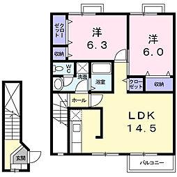 栃木県下野市祇園2丁目の賃貸アパートの間取り