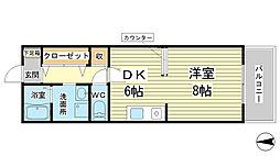 兵庫県たつの市龍野町四箇の賃貸マンションの間取り