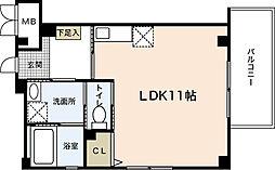 JR可部線 大町駅 徒歩7分の賃貸マンション 4階ワンルームの間取り