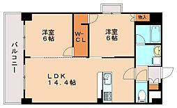 福岡県福岡市南区中尾3丁目の賃貸マンションの間取り