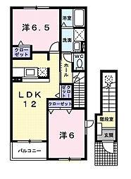 千葉県茂原市鷲巣の賃貸アパートの間取り