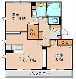 福岡県福岡市博多区井相田2丁目の賃貸アパートの間取り