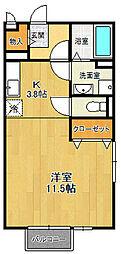 兵庫県西宮市高木東町の賃貸アパートの間取り