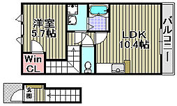 大阪府和泉市内田町1丁目の賃貸アパートの間取り
