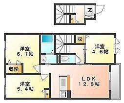 岡山県倉敷市児島田の口7丁目の賃貸アパートの間取り