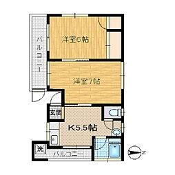 アパートメントマルミ[2F号室]の間取り