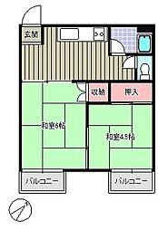 清里コーポA[201号室]の間取り