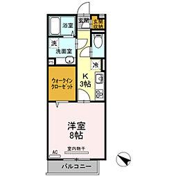 広島県広島市東区尾長西2丁目の賃貸アパートの間取り