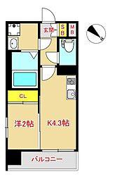 MODERN PALAZZO 大濠スクエア 7階1Kの間取り