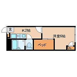 近鉄京都線 山田川駅 徒歩4分の賃貸マンション 2階1Kの間取り