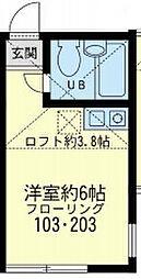 神奈川県横浜市中区根岸町1丁目の賃貸アパートの間取り