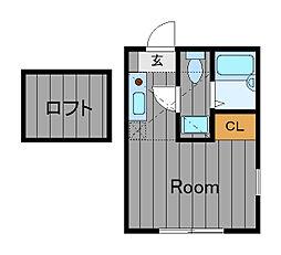 ハーミットクラブハウス岡沢町B[2階]の間取り