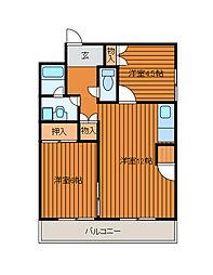 ポルシェ町田金森[202号室]の間取り