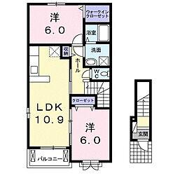 カンタ−ビレ A[2階]の間取り