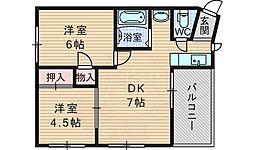 阪急千里線 南千里駅 徒歩23分の賃貸マンション 3階2DKの間取り