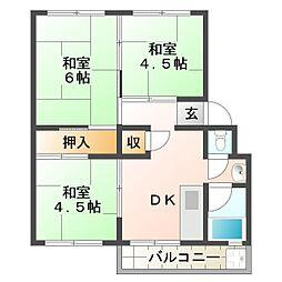 明舞北住宅2号棟[4階]の間取り