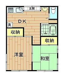 神奈川県川崎市幸区古市場の賃貸アパートの間取り
