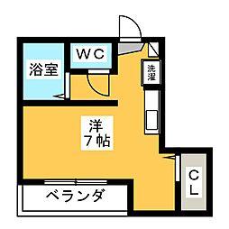 ベルメゾン北新宿 3階ワンルームの間取り