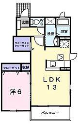 広島県福山市手城町1丁目の賃貸アパートの間取り