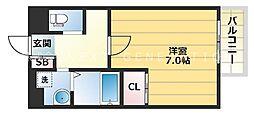 Star Residence黒門 2階1Kの間取り