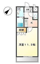 静岡県御殿場市東田中2丁目の賃貸アパートの間取り