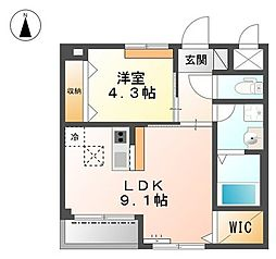 愛知県名古屋市昭和区山脇町1丁目の賃貸アパートの間取り