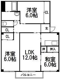 稲穂駅前ハイツIII[203号室]の間取り