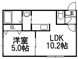 北海道札幌市豊平区美園八条4丁目の賃貸マンションの間取り
