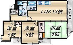 エスコート本田[3階]の間取り