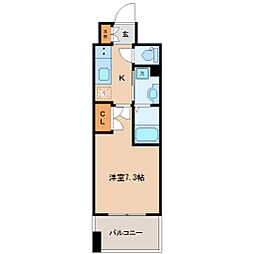 レジディア仙台上杉 10階1Kの間取り
