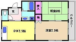 兵庫県芦屋市岩園町の賃貸アパートの間取り