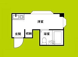 昭和グランドハイツ下寺 4階ワンルームの間取り