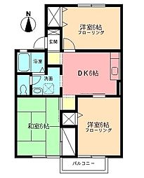 ペアタウンB 2階3DKの間取り