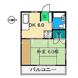 ハイツミモザ[3階]の間取り