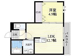フォレスト3 3階1LDKの間取り