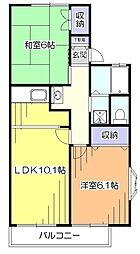 東京都東久留米市柳窪3丁目の賃貸アパートの間取り