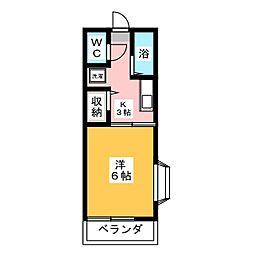コーポタカダC[1階]の間取り