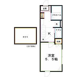 JR中央本線 西国分寺駅 徒歩8分の賃貸アパート 2階1Kの間取り