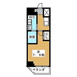ベルグレードKAMEIDO 9階1Kの間取り