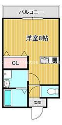 京阪本線 萱島駅 徒歩4分の賃貸マンション 3階1Kの間取り